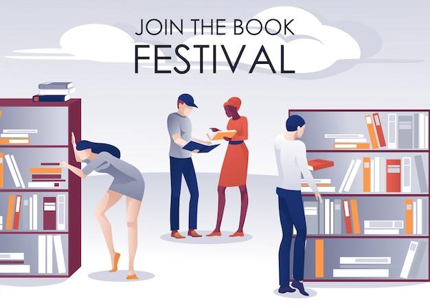 Boekfestival promotie poster mensen in bibliotheek