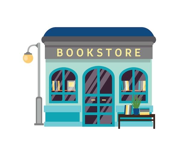 Boekhandel platte vectorillustratie. boekhandel gebouw gevel met bord geïsoleerd op een witte achtergrond. kleine kiosk met boeken bij showcase. literatuur, romans, tekstboeken op boekenplanken.
