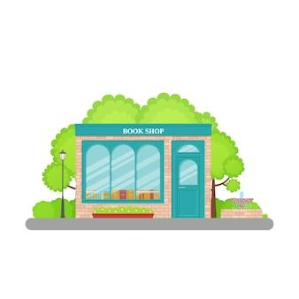 Boekhandel voorzijde. . boekhandel gevel, storefront. cartoon winkel voorkant. retail boekhandel bouwen met venster in flat. exterieur bibliotheek huis. straat architectuur. illustratie.