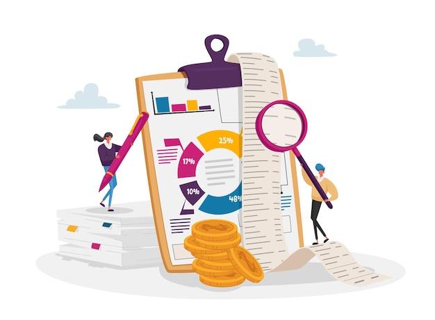 Boekhouding en boekhouding. tiny accountant-tekens