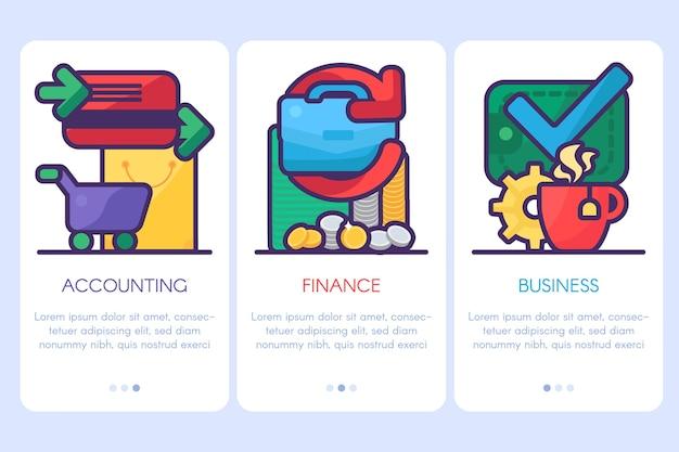 Boekhouding, financiën, zakelijke sjablonen voor website en print. financiële strategie en analyse poster of webbanner ontwerpelementen met kopie ruimte. illustratie