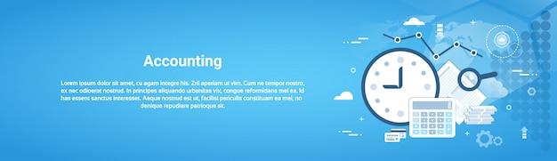 Boekhoudingscontrole bedrijfs horizontale webbanner met exemplaarruimte