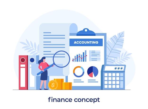 Boekhoudkundig of financieel concept, businessplan en budget, analist, platte illustratie vectorsjabloon