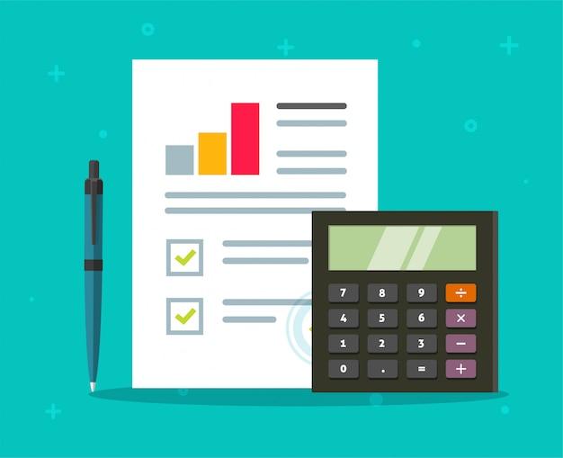 Boekhoudkundige audit papieren rapport met verkoopstatistieken grafieken rekenmachine vector platte cartoon