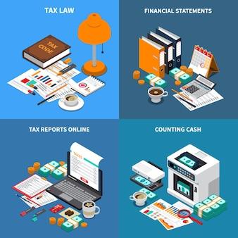 Boekhoudkundige belasting 4 isometrische composities concept met jaarrekening online en kassa-telmachine