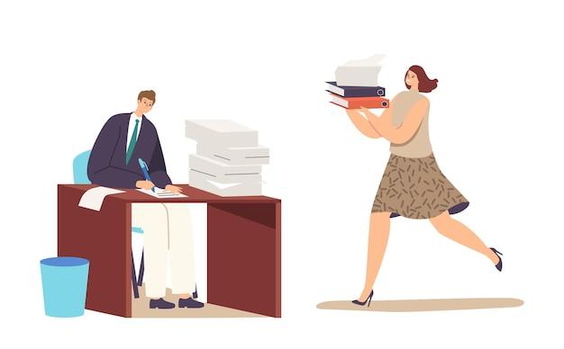 Boekhoudkundige bureaucratie, manager baanberoep, deadline. man en vrouw met enorme stapel papieren documenten. business people office medewerkers werken in een zeer drukke dag. cartoon mensen vectorillustratie