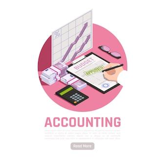 Boekhoudkundige isometrische illustratie met rekenmachine contant geld en hoofd goedkeuring van de begroting van de firma