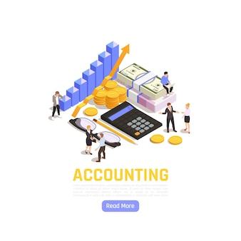 Boekhoudkundige isometrische illustratie met zakenmensen auditors en financiële elementen