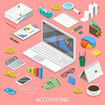 Boekhoudkundige platte isometrische concept. laptop met enkele grafieken op het scherm, omringd door de boekhoudkundige attributen.