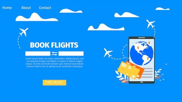 Boeking vliegtickets online flat vector website