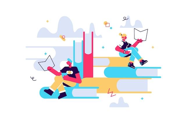 Boeklezers concept van een klein personage dat een boek leest en een enorm opgestapeld boek. man en vrouw lezen boek en werken op laptop.