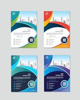 Boekomslag ontwerpsjabloon in a4 eenvoudig aan te passen aan brochure jaarverslag