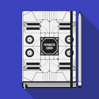 Boekomslag ontwerpsjabloon. notebook mockup. geometrische futuristische elementen.