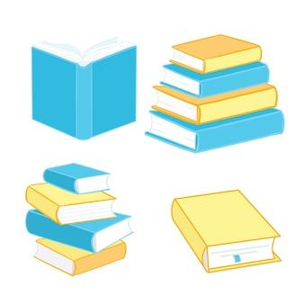 Boekpictogrammen zijn gemaakt in een vlakke stijl van schoolboeken, geïsoleerd op een witte achtergrond. een reeks encyclopedieën en leerboektekens vectorillustratie