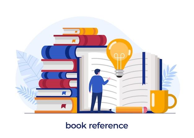 Boekreferentieconcept, bibliotheek, literatuur, onderwijsconceptontwerp, idee, brainstormen, platte illustratie vectorsjabloon