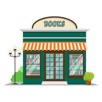 Boekwinkel. de voorgevel van winkelpictogram in vlak stijlontwerp.