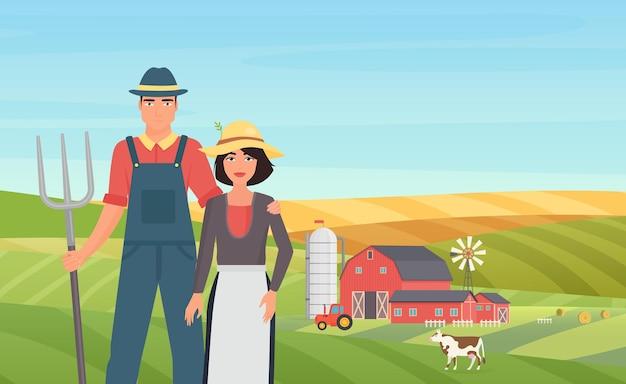 Boer agrarische mensen werken aan vee veehouderij in het landbouwlandschap van het dorp