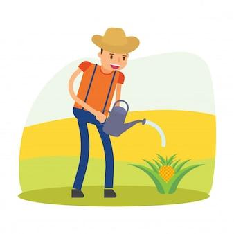 Boer agronoom agrarisch helmstok oogst pineaple fruit stripfiguur