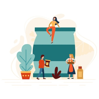 Boer bemesten van grond voor een goede oogst. werknemer voeden met mest tuin. modern plat concept met kleine mensen. vector illustratie.