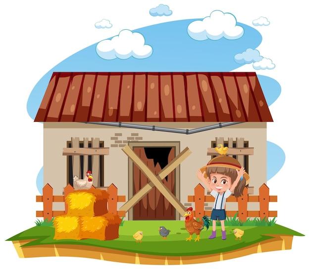 Boer bij de landelijke oude boerderij