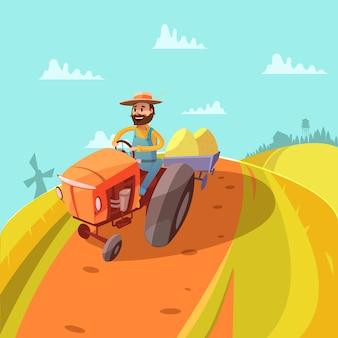 Boer cartoon achtergrond met tractor molen heuvels en oogst vectorillustratie