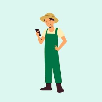 Boer die landbouwtechnologie gebruikt