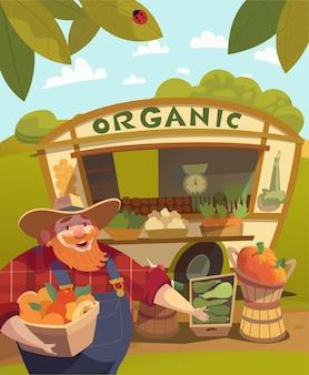 Boer draagt een hoed met een emmer vol groenten en fruit. plantaardige kraam buitenshuis achtergrond. plantaardige beurs. voedselmarkt. vector