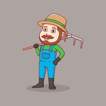 Boer draagt landbouwgereedschappen