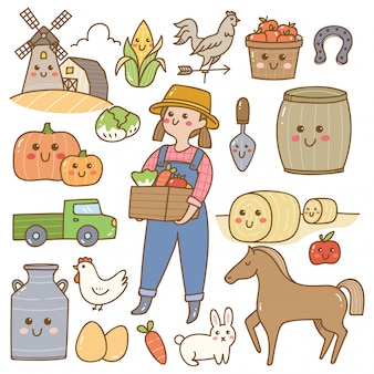 Boer en landbouw apparatuur kawaii doodles