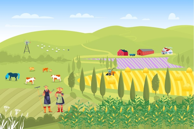 Boer familie mannelijke vrouwelijke oogst campagne gewas