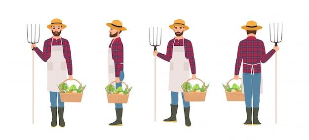 Boer geïsoleerd. landbouwarbeider die schort en strohoed dragen die mandhoogtepunt van geoogste groenten en hooivork dragen. voor-, achter- en zijaanzichten. cartoon vectorillustratie.