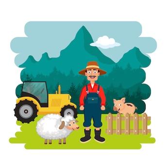 Boer in de boerderij scène
