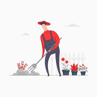 Boer karakter concept illustratie cultiveren veld landbouw tuinieren bloemplanten