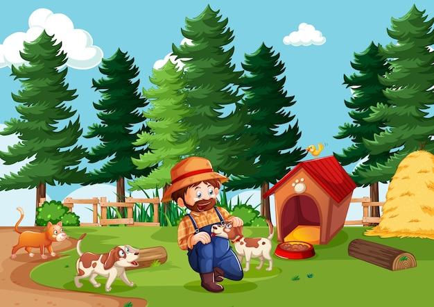 Boer met dierenboerderij in boerderijscène in cartoon-stijl