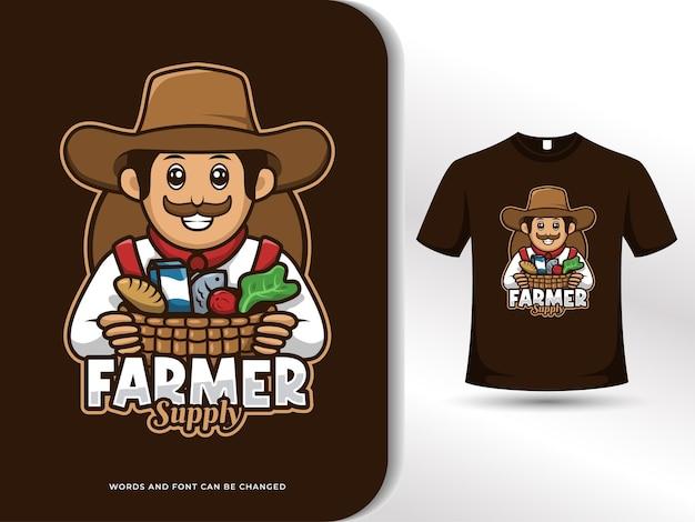 Boer met oogstkar mascotte logo met t-shirt ontwerpsjabloon