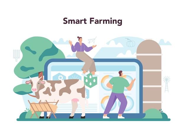 Boer online service of platform. landarbeider die planten kweekt en dieren voedt. landbouw- en veeteeltbedrijf. slimme landbouw. platte vectorillustratie