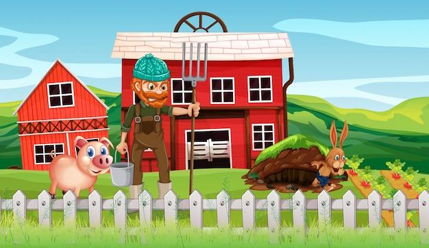 Boer op de landbouwgrond