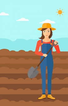 Boer op het veld met schop.