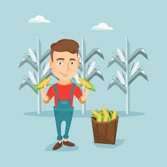 Boer verzamelen maïs vectorillustratie.