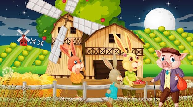 Boerderij bij nachtscène met konijnenfamilie en een stripfiguur van een varken