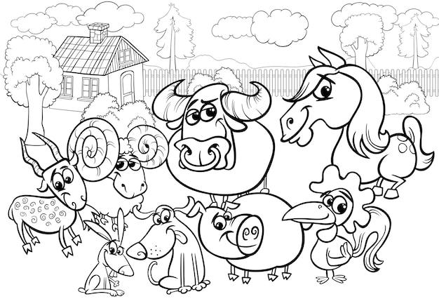 Boerderij dieren cartoon kleurplaat