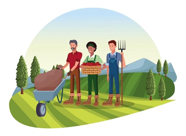 Boerderij, dieren en boer cartoon