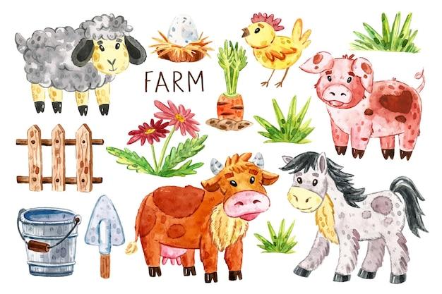 Boerderij dieren illustraties, set elementen. koe, paard, varken, schaap, kip, nest, ei, vee houten hek, wortel, gras, bloemen, emmer, schop.