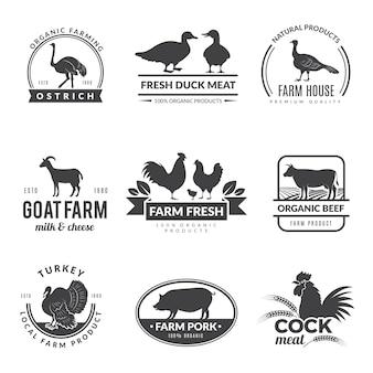 Boerderij dieren logo. koe schapen geit symbolen voor vers gezond voedsel van boeren collectie