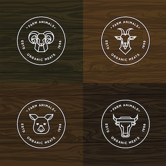 Boerderij dieren logo of badge set
