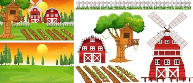 Boerderij element set geïsoleerd met boerderij scence