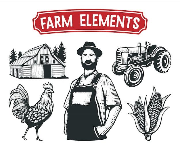 Boerderij elementen hand getrokken