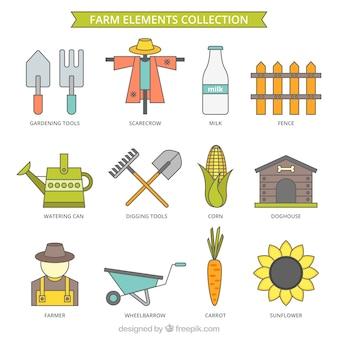 Boerderij elementen met outline