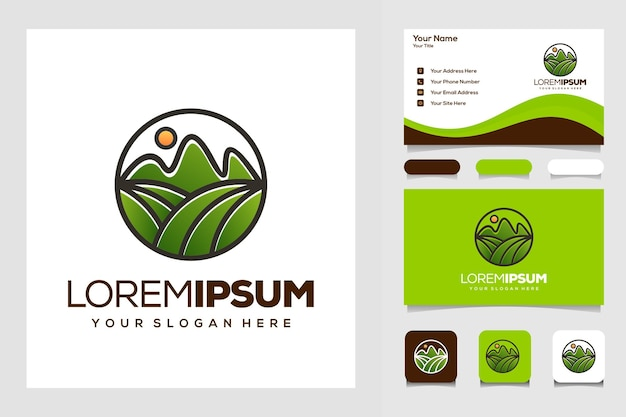 Boerderij en berg logo ontwerp visitekaartje