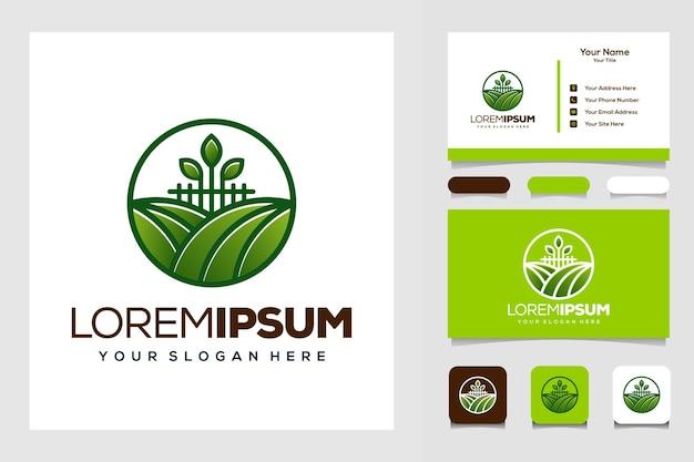 Boerderij en blad modern logo visitekaartje
